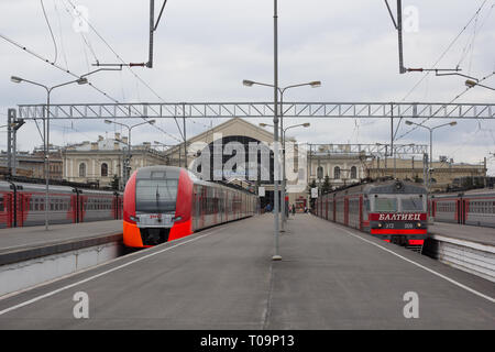 The train at the station. Russian railway. The train is waiting for passengers. April 29, 2018, Russia, St. Petersburg, Baltic Station - Stock Photo