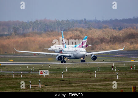 Dusseldorf International Airport, DUS, Eurowings plane, takeoff, - Stock Photo