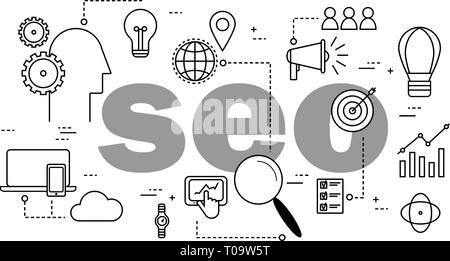 seo optimization concept in search engine - Stock Photo