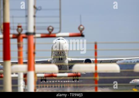 Dusseldorf International Airport, DUS, Eurowings Airbus at take-off, - Stock Photo