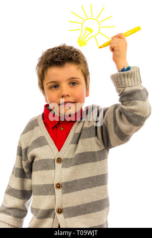 little boy having a bright idea. the background is pure white, so the light bulb can easily be replaced or removed - Stock Photo