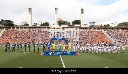 SÃO PAULO, SP - 16.03.2019: SÃO PAULO FC X PALMEIRAS - The team of SE Palmeiras, against the team of São Paulo FC during a match validated by the eleventh round, of the Campeonato Paulista, Series A1, in the Pacaembu Stadium. (Photo: Cesar Greco/Fotoarena) - Stock Photo