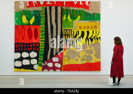 March 14, 2019 - London, UK, United Kingdom - Artist Florence Hutchings is seen viewing her work ''Fruit and Veg Market'' at the Saatchi Gallery during the exhibition. .Kaleidoscope at the Saatchi Gallery presents is an exhibition featuring the work of 9 international contemporary artists working across a variety of mediums which aims to be a timely exploration of our relationship with our surroundings, asking everyone to reconsider the way we engage with our environment. Kaleidoscope runs until 5 May 2019. (Credit Image: © Dinendra Haria/SOPA Images via ZUMA Wire) - Stock Photo
