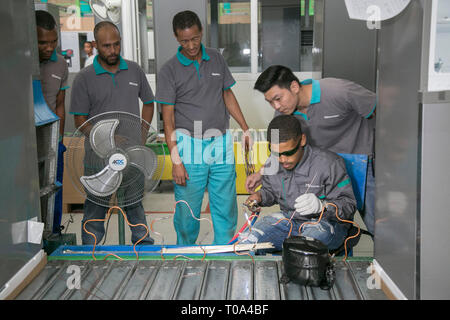 Cape Town, South Africa. 18th Mar, 2019. Workers are seen at a Hisense plant in Atlantis near Cape Town, South Africa, on March 18, 2019. South African Minister of Trade and Industry Rob Davies on Monday lauded Chinese electronic giant Hisense for its contribution to the economic development in the African country. Credit: Fred Barker/Xinhua/Alamy Live News - Stock Photo