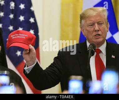 Washington, District of Columbia, USA. 18th Mar, 2019. United States President Donald J. Trump attends the Greek Independence Day Celebration in the East Room of the White House in Washington, DC on Monday, March 18, 2019 Credit: Ron Sachs/CNP/ZUMA Wire/Alamy Live News - Stock Photo