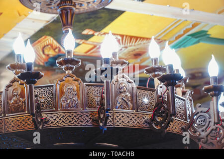 Beautiful chandelier in the Orthodox Church - Stock Photo