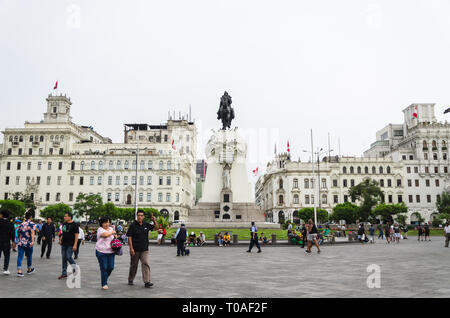 Lima, Peru January 24th, 2018 : Plaza San Martin is a square located in block 9 of Colmena Avenue within the historic center of Lima in the city of Lima. - Stock Photo