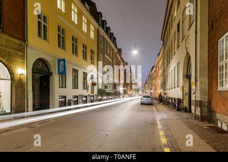 Copenhagen, NOV 1: Night street view of downtown on NOV 1, 2015 at Copenhagen, Denmark - Stock Photo