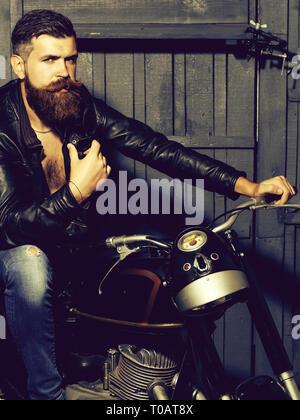 Bearded man hipster biker - Stock Photo