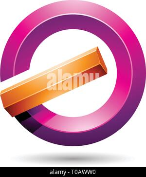 Vector Illustration of Orange and Magenta Round Glossy Reversed Letter G or A Icon - Stock Photo