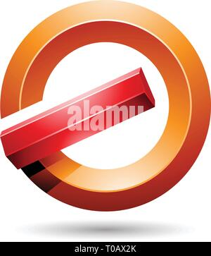 Vector Illustration of Red and Orange Round Glossy Reversed Letter G or A Icon - Stock Photo