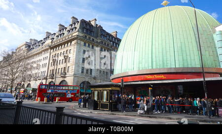 Tourists forming queue outside Madame Tussauds London. United Kingdom - Stock Photo