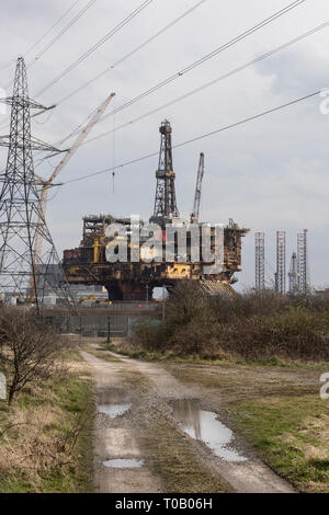 The Brent Delta Oil Rig being demolished at Able UK in Seaton Carew near Hartlepool, Teesside - Stock Photo