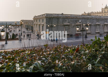 MADRID, SPAIN - JANUARY 22, 2018:  Sunset view of the facade of the Royal Palace of Madrid, Spain - Stock Photo