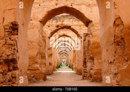 Arches and walls of Heri es-Souani stable and granary, commisioned by the sultan Mulai Ismail, Meknes, Morocco. - Stock Photo
