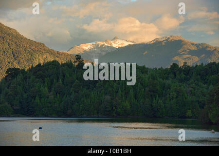 View of Nevado Queulat and Puyuhuapi fiord, Patagonia, Aysen, Chile - Stock Photo