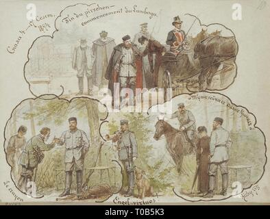 ''The Hunting Scenes of Alexander III at Spala on 4-17 September 1894''. Russia, 1895. Dimensions: 23,5x30,5 cm. Museum: State Hermitage, St. Petersburg. Author: MIHALY VON ZICHY. - Stock Photo