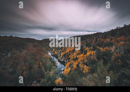 Long exposure from Lily Overlook in Scenic Obed National Wild and Scenic River during Autumn. - Stock Photo
