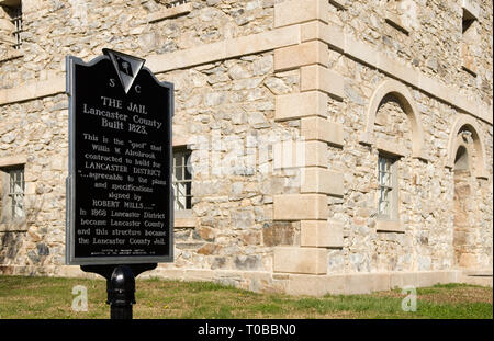 Old Lancaster Jail sign, South Carolina, USA. - Stock Photo