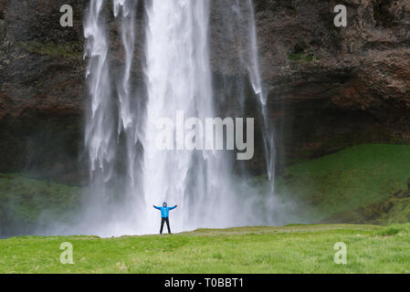 Seljalandsfoss waterfall in Iceland. Beautiful natural landmark - Stock Photo
