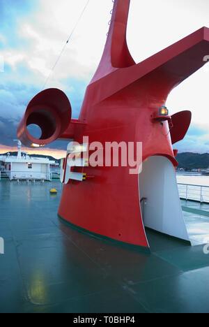 Ship's funnel on the ferry between, Uno Port, Okayama on Hoshu and - Stock Photo