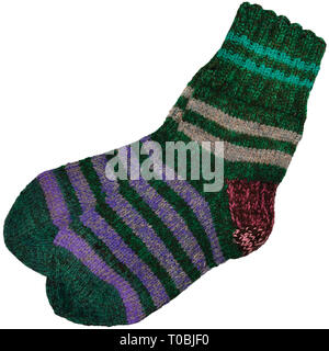 Warm green grey violet purple striped knitted wool camp socks, large detailed isolated macro closeup, gray burgundy red woolen pair detail - Stock Photo