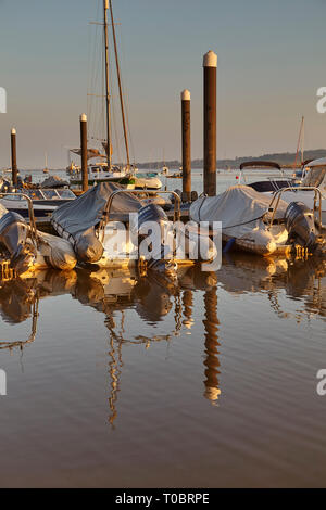 Moored boats in evening sunlight, sitting at pontoons in the harbour at Topsham, on the estuary of the River Exe, near Exeter, Devon, Great Britain. - Stock Photo