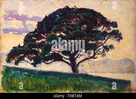 'Large Pine, Saint-Tropez'. France, Circa 1892/1893. Dimensions: 19x27 cm. Museum: State Hermitage, St. Petersburg. Author: PAUL SIGNAC. - Stock Photo