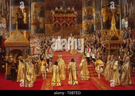 'Coronation of Empreror Alexander III and Empress Maria Feodorovna'. Russia, 1888. Dimensions: 108x156 cm. Museum: State Hermitage, St. Petersburg. Author: GEORGES BECKER. - Stock Photo