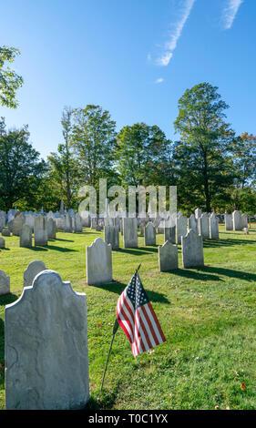Old First Church cemetery in Bennington Vermont - Stock Photo