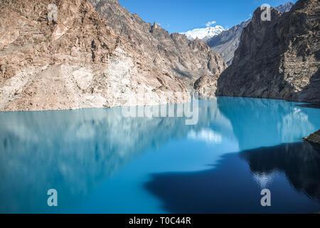 Turquoise Attabad Lake in Gojal Valley, Hunza. Gilgit Baltistan, Pakistan. - Stock Photo