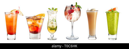 Set of refreshing cocktails decorated with berries and fruits on a white background. Isolated. Banner. - Stock Photo