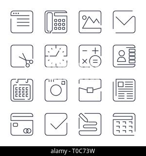 Simple Set of Office Related Vector Line Icons. Contains such Icons as Business Meeting, Workplace, Office Building, Reception Desk and more. Editable - Stock Photo