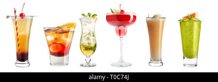 Set with different cocktails and strong drinks on a white background. Isolated. Banner. - Stock Photo