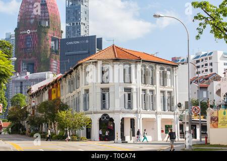 White shophouses along Kreta Ayer street, Singapore - Stock Photo