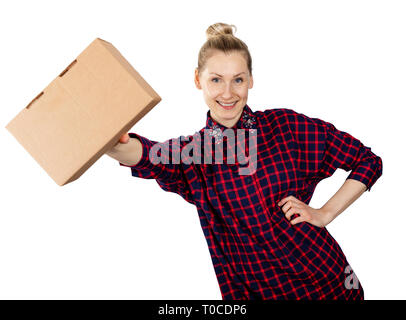 smiling woman with blank cardboard box in hand isolated on white background - Stock Photo