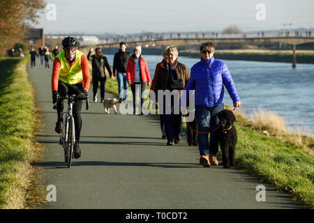Cyclists, pedestrians and dog walkers on the path alongside the River Dee at Ferry Lane heading out of Chester towards North Wales UK - Stock Photo