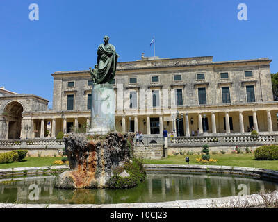 Statue of Sir Frederick Adam In Front of Palace of St. Michael and St. George, Museum of Asian Art, Corfu, Greece - Stock Photo
