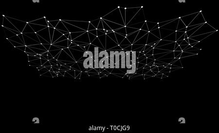 Technology hud digital wires lines and dots connected, black background - Stock Photo