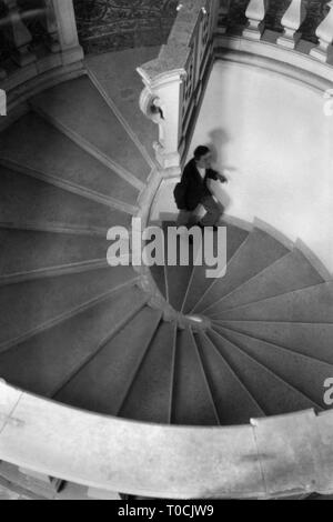 spiral staircase in the Certosa of San Lorenzo, padula 1920-30 - Stock Photo