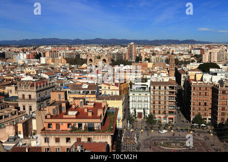 Panoramic aerial landscape view of Valencia as seen from Valencia Cathedral. The cityscape and the historic district with Plaza de la Virgen. - Stock Photo