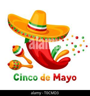 Mexican Cinco de Mayo greeting card. - Stock Photo