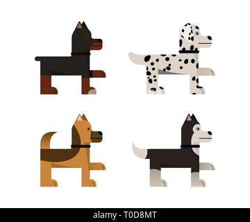 Dogs stand and gives a paw. Doberman, shepherd, husky and dalmatian. Vector illustration. Flat icons set. - Stock Photo