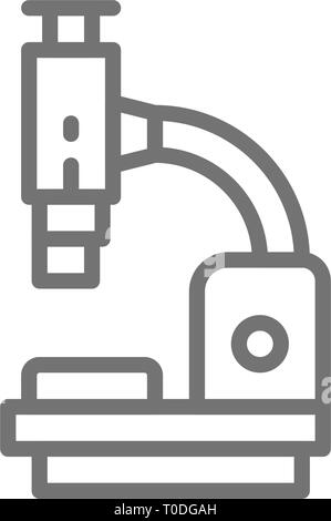 Microscope, medical equipment, lab research line icon. - Stock Photo