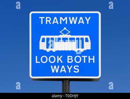 Tramway Warning Sign, Manchester, England, United Kingdom - Stock Photo