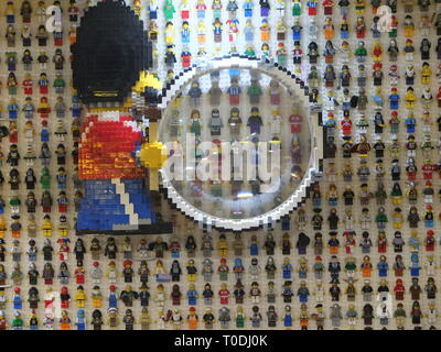 Lego figures on the wall in the reception area of the hotel at the LEGOLAND Windsor Resort UK - Stock Photo
