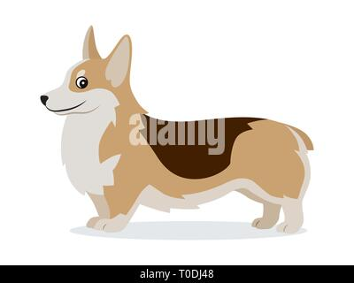 Cute corgi icon, small playful dog with short paws isolated, domestic animal, pet, vector illustration - Stock Photo