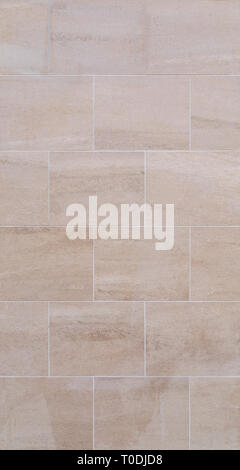 Full frame background of a new, modern and clean wall or building exterior made of light brown slabs. - Stock Photo