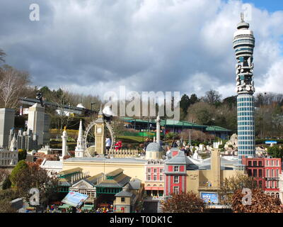 LEGOLAND Windsor Miniland - lego versions of famous London landmarks including the Post Office Tower, Big Ben and London Eye - Stock Photo