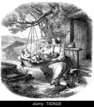 Digital improved reproduction, Baby in the cradle on a branch, mother and daughter sitting on a bench and rocking the toddler, original woodprint from th 19th century - Stock Photo